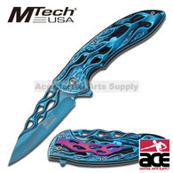 MTECH BALLISTIC BLUE Skeletonized Flame Blade Spring Assisted Opening Knife NEW!