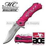 Dragon Assisted Opening Pink Handle Fantasy Knife