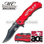 Red Fantasy Dragon Assisted Opening Pocket Knife