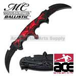 Spring Assist - 'Legal Automatic' Knife - Double Blade Red Flaming Dragon