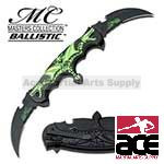 Spring Assist - 'Legal Automatic' Knife - Double Blade Green Flaming Dragon