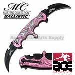Spring Assist - 'Legal Automatic' Knife - Double Blade Pink Flaming Dragon