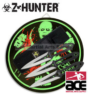 Z-HUNTER Zombie Hunter 3 Throwing Knives W/ Sheath & Target Board Combo