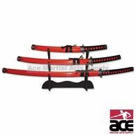 "3 PIECE 40"" Samurai Sword Set with Spoke Tsuba - Red"