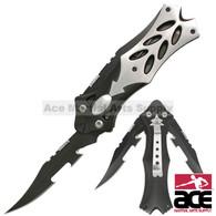 "MTECH USA 8.5"" MIDNIGHT BLACK DUAL BLADE FANTASY FOLDING KNIFE"