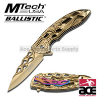 "8"" MTECH GOLD TACTICAL FOLDING KNIFE Pocket Blade"