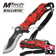MTECH Ballistic BOWIE Black & Red SKULL CAMO Spring Assisted Opening Knife NEW!