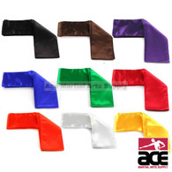 "These colorful Kung Fu sashes are a great accessory to add to your uniform. Made from light weight satin, these sashes measure at 4"" x 120"" and are available in red, brown, orange, yellow, green, blue, purple, white, and black."