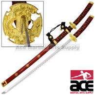 Divine Wind Tachi Katana Ceremonial Japanese Samuri Sword -Red and Gold