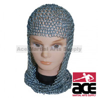 Chain Mail Head Coif V face Knight Armor SCA LARP