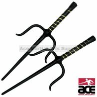 "Set of 2 15"" Black Octagon Stainless Sai Karate Practice"