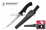"Buckshot Knives 12"" Black Plastic Handle Fillet Knife with Sheath"