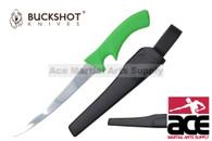 "Buckshot Knives 12"" Green Plastic Handle Fillet Knife with Sheath"