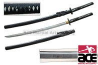 Set includes 3 swords: Katana, Wakazashi, and Tanto. High carbon steel blades.  Wood core handles with rayskin. Oxidized steel guards with wheel design. Sharp.