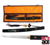 """High carbon steel blade. Hardwood scabbard and handle with black lacquer finish. Dragon design in mother of pearl. Wood handle matching the scabbards black finish. 14.5"""". Sharp."""