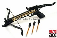 Features a strong plastic body and compressed molded fiberglass bow, Adjustable tactical sight. 80lb draw weight w/ 165 fps firing speed. Includes 15 aluminum arrows.