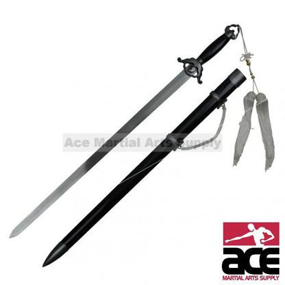 Stainless steel with mirror finish. Unsharpened edges. Black matte finish. The sword drag is also mirror polished steel. The sword pommel features an elegant arch design, capstan rivet, and white nylon tassel.