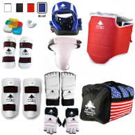 Pine Tree Sang Moo Sa Complete Taekwondo Vinyl Sparring Gear Set with Shin, Hand and Foot Guard