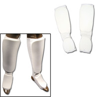 White Cloth Sparring Gear Set Shin Instep and Fist and Forearm Guards