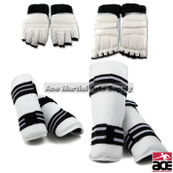 White Vinyl Shin, Forearm, Gloves and Foot Guard