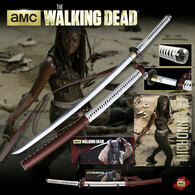 The Walking Dead Michonne Replica Katana Sword w/ Wall-Mountable Plaque and Poster