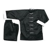 100% Cotton White Cuff Black  Kung Fu Wing Chun martial arts Uniform tai chi gung NEW