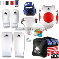 Pine Tree Sang Moo Sa Complete Cloth Martial Arts Sparring Gear Set w/ Bag, Shin Guard, and Groin Cup