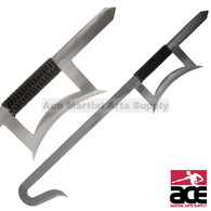 2-piece Chinese Hook Sword Set Silver