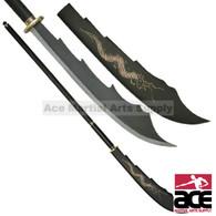 Black Dragon Naginata War Blade Sword