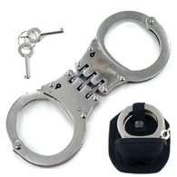 Ace Martial Arts Supply Hinged Heavy Duty Handcuffs and Keys, Silver W Case & Keys Double Lock New