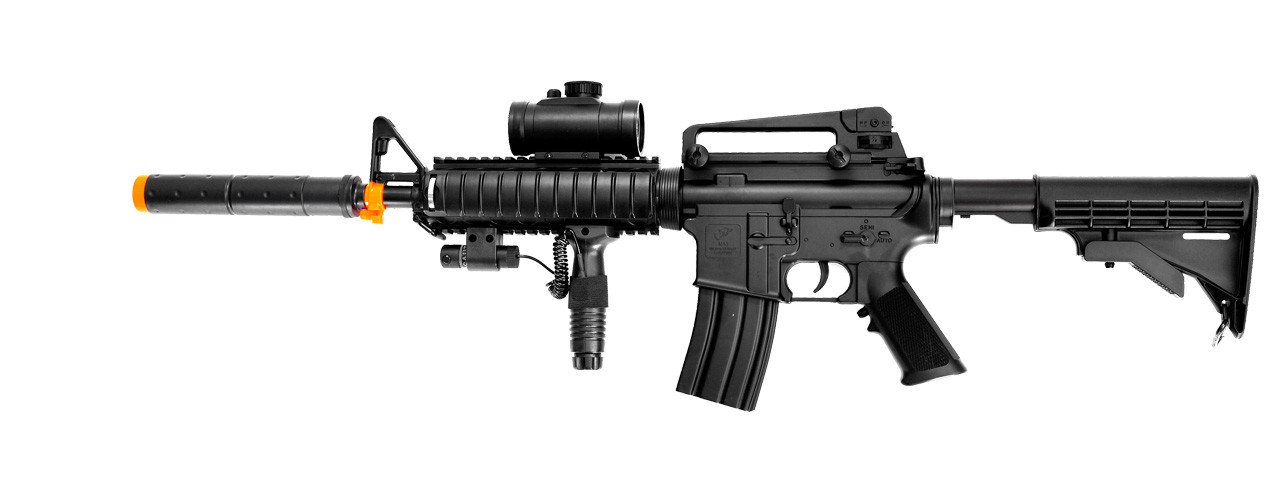 DE M4 RIS TACSPEC ELECTRIC AEG RIFLE W/ FLASHLIGHT AND RED