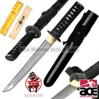 Handmade Ryumon Damascus Japanese Dragon Samurai Tanto Sword W/ Collector Box