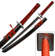 Carbon Steel Ninja Katana Black with Blood Splash 40- Inch Sword, Red