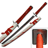 Samurai Sword With Blood Splash On White Scabbard
