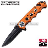 """TAC FORCE TF-611EMO 8"""" EMT RESCUE HALF SERRATED SPRING ASSISTED FOLDING KNIFE"""