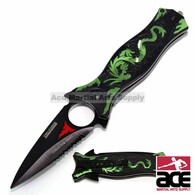 "8"" GREEN TAC FORCE DRAGON SPRING ASSISTED FOLDING KNIFE Pocket Blade Assist Open"
