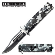 Tac Force Winter Camo Spring Assisted Folding Knife