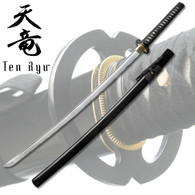 7MM Hand Forged Carbon Steel Katana W/ Real Ray Skin - Black
