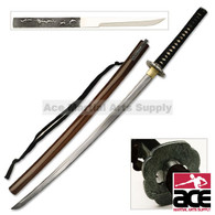 Hand Forged Carbon Steel Practical Katana with Hidden Knife - Brown Scabbard