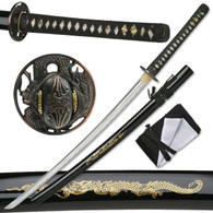 Hand Sharpened Carbon Steel Katana with Brass Dragon Inlay Scabbard