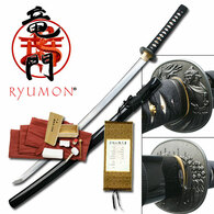"Hand forged. 41.5"" in length. 1095 High carbon steel w/ blood groove. Samurai designed guard. Real ray skin handle w/ black wrap. Wood scabbard w/ black lacquer finish. Includes certificate, bag, and cleaning kit."