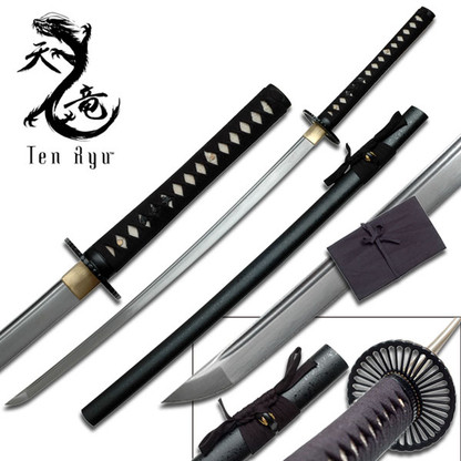 """Hand forged. 40.5"""" in length. Carbon steel blade. Real ray skin handle w/ black cotton wrap. Chrysanthemum guard. Black scabbard. Includes sword bag."""