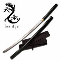 """Handmade shirasaya. 41"""" in length. Features blood groove. Matching wood scabbard and handle w/ black finish. Includes sword bag."""
