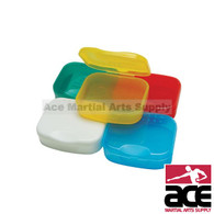 Single mouthguard carrying case w/ snap closure.