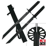 "2 PC Large Full Tang 28"" Ninja Twin Tanto Blade Sword Machete w/Nylon Sheath"