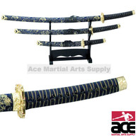 3 PCS Blue Samurai Sword Set W/ Stand