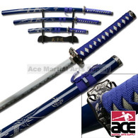 3 Pcs Samurai Sword Set - Blue Carved Dragon on Scabbard