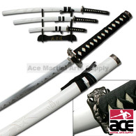 3 PCS White Dragon Samurai Sword Set W/ Stand