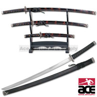 Black & Burgundy Japanese Katana Sword Set