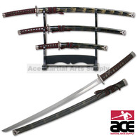 Black With Gold Splash Japanese Katana Sword Set